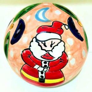 Mexican Talavera Christmas Santa Luminary Globe